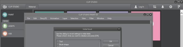 In Clip Studio Paint die Wekzeugleisten zurücksetzen